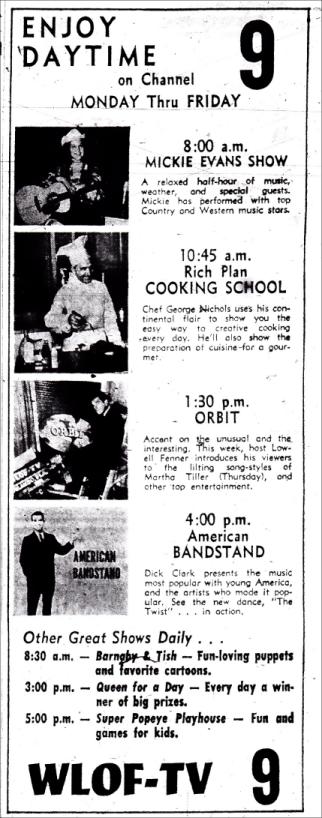 1961-11-wlof-daytime-lineup